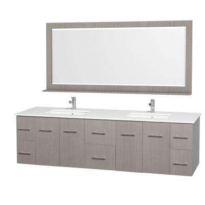 Centra 80 in. Double Vanity in Grey Oak with Man-Made Stone Vanity Top in White and Square Porcelain Undermounted Sinks