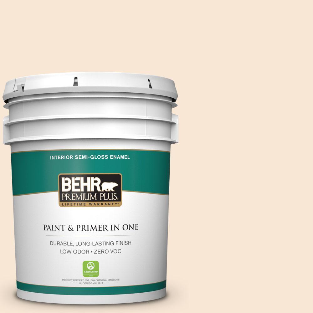 5 gal. #PPU4-09 Cafe Cream Zero VOC Semi-Gloss Enamel Interior Paint