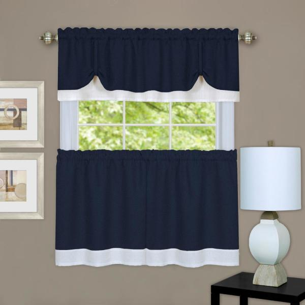 Darcy Navy/white Polyester Light Filtering Rod Pocket Tier and Valance Curtain Set 58 in. W x 24 in. L