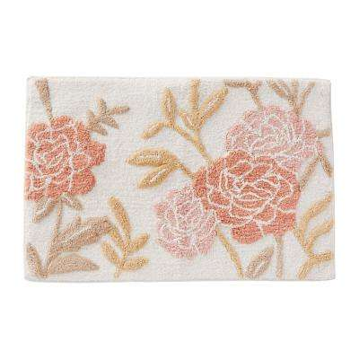 20 in. x 30 in. Pink Misty Floral Cotton Bath Rug