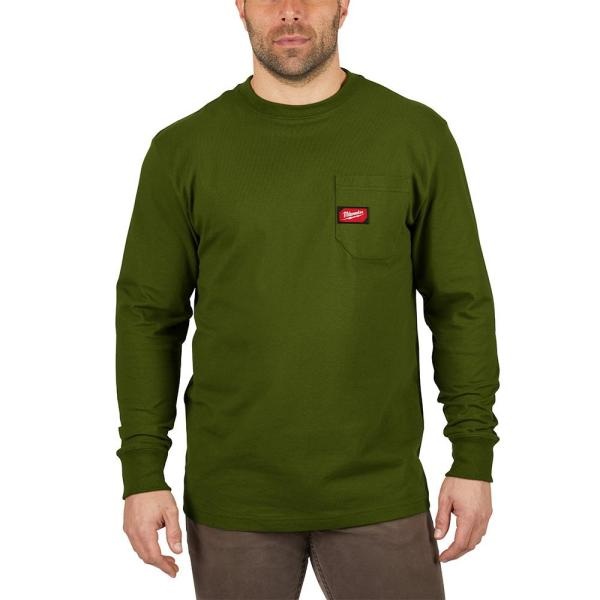 Men's Large Olive Green Heavy Duty Cotton/Polyester Long-Sleeve Pocket T-Shirt