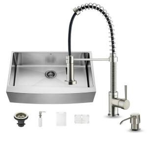 VIGO All-in-One Farmhouse Apron Front Stainless Steel 36 inch Single Bowl Kitchen Sink in Stainless Steel by VIGO