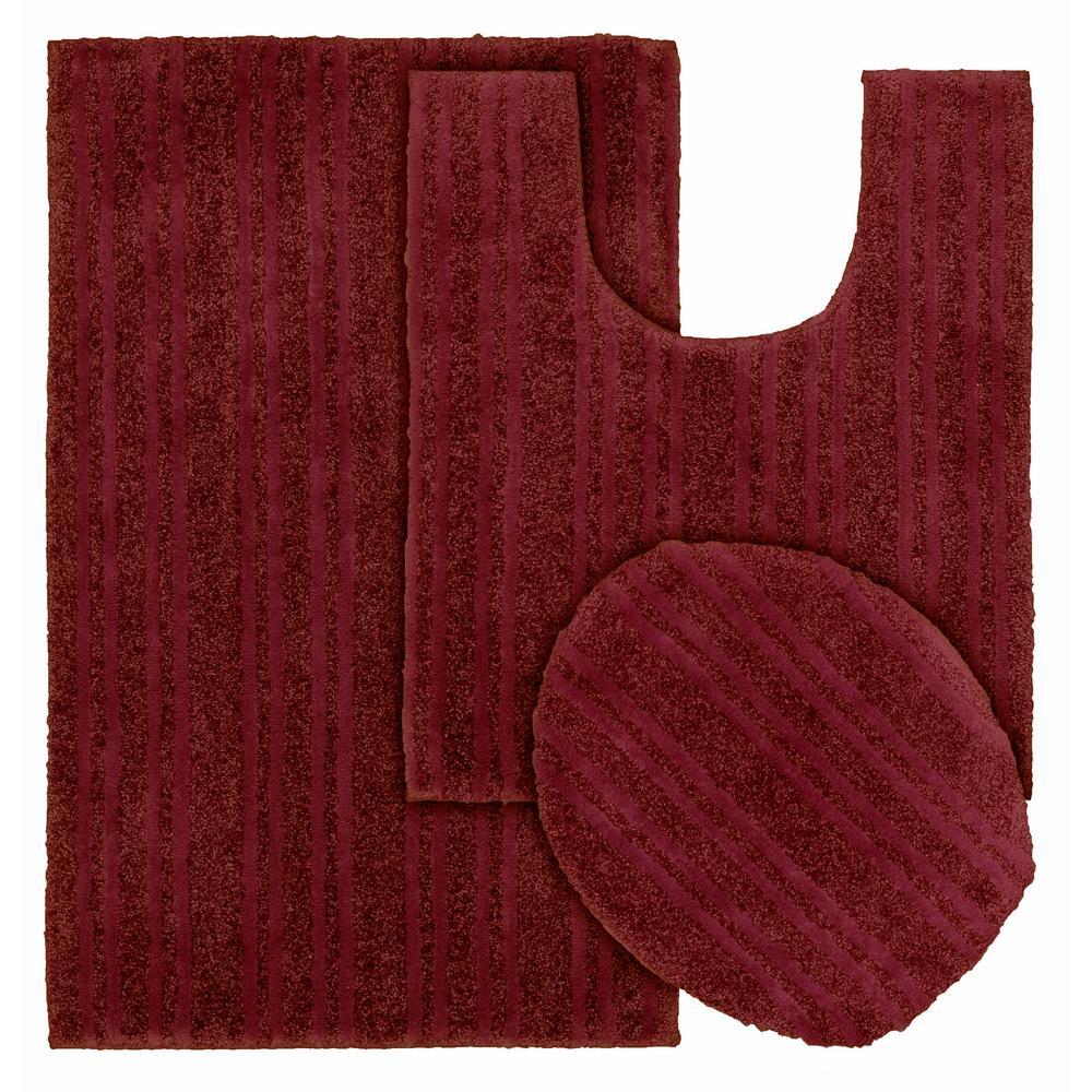 Grand Isle Chili Red 21 in. x 34 in. Striped Nylon 3-Piece Bath Mat Set