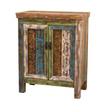 Distressed Multicolored 2-Door Cabinet