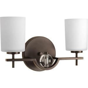 Progress Lighting Compass Collection 2-Light Antique Bronze Vanity Light with Etched White... by Progress Lighting