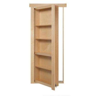 24 in. x 80 in. Assembled Natural Stained Maple Flush Mount Bookcase Wood Single Prehung Interior Door