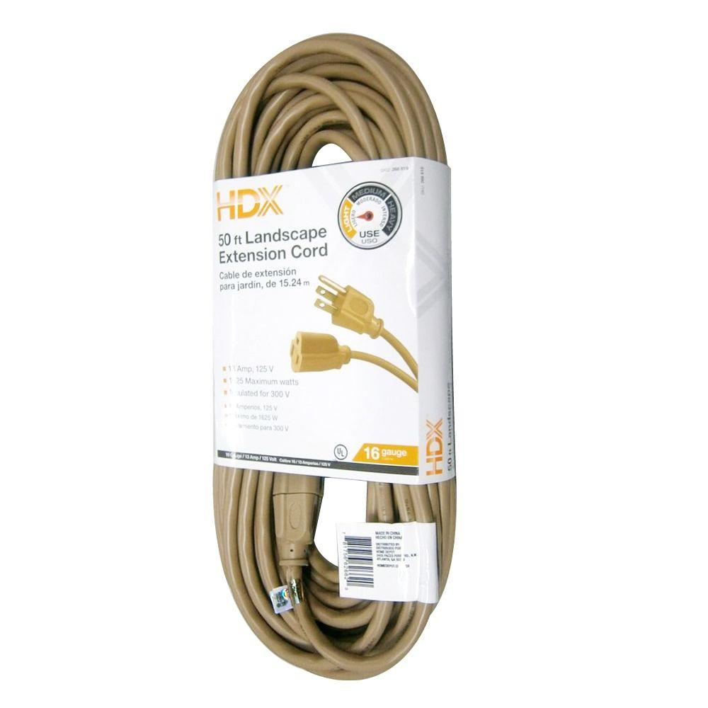 HDX 50 ft. 16/3 Landscape Extension Cord-AW62662 - The Home Depot