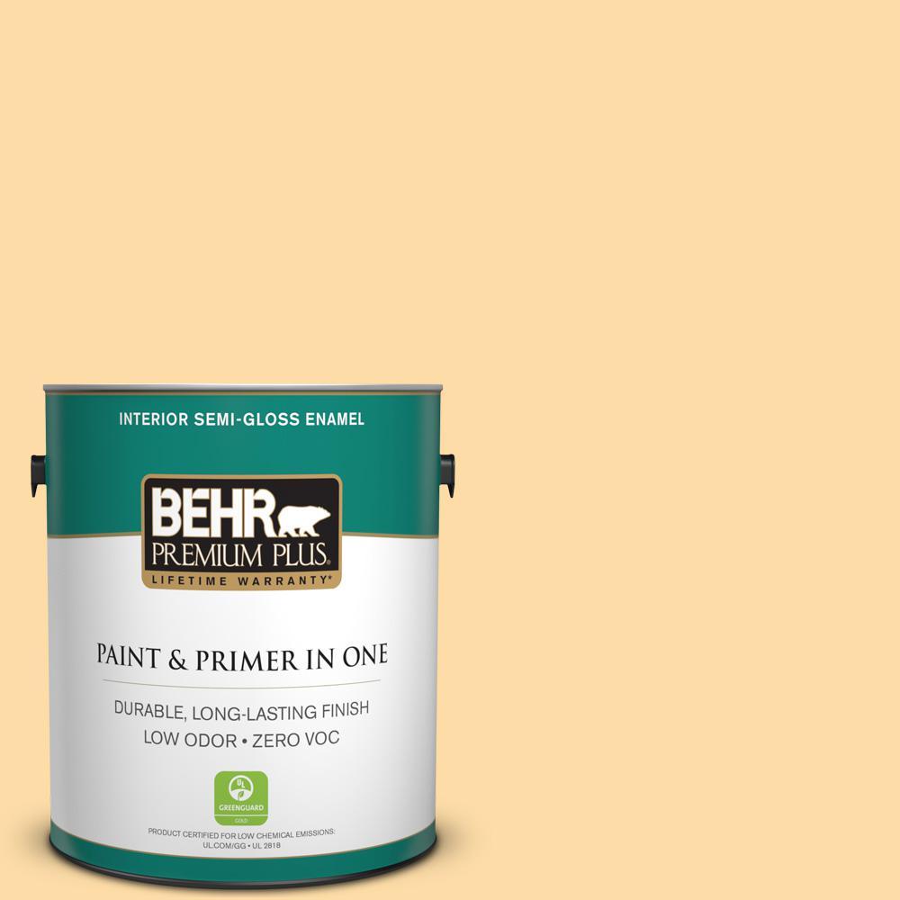 BEHR Premium Plus 1-gal. #300A-3 Melted Butter Zero VOC Semi-Gloss Enamel Interior Paint