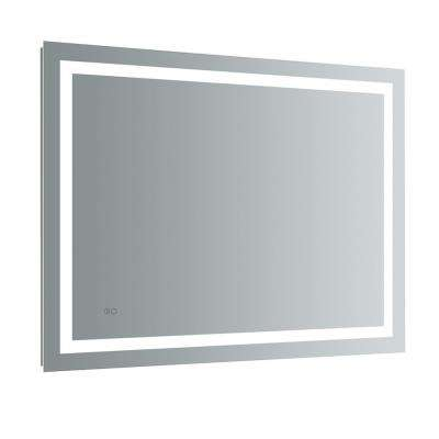 Santo 48 in. W x 36 in. H Frameless Single Bathroom Mirror with LED Lighting and Mirror Defogger