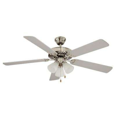 Spottswood 52 in. Indoor Brushed Nickel Ceiling Fan with Light Kit Included