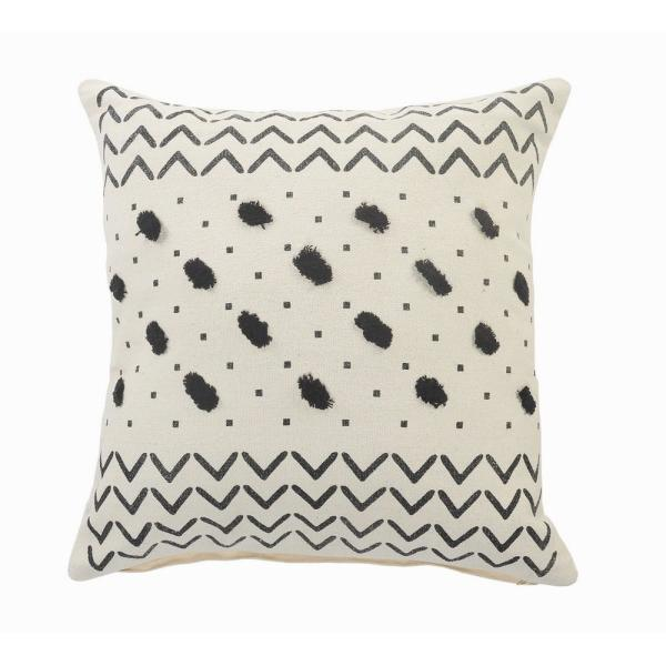 Chevron Black / Cream Tufted Grid Soft Poly-fill 20 in. x 20 in. Throw Pillow