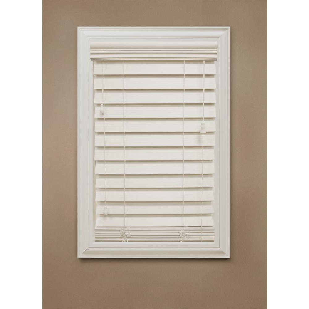 Home Decorators Collection Ivory 2 1 2 In Premium Faux Wood Blind 47 In W X 72 In L Actual