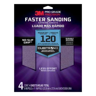 Pro Grade Precision 9 in. x 11 in. 120 Grit Medium Advanced Sanding Sheets (4-Pack) (Case of 20)