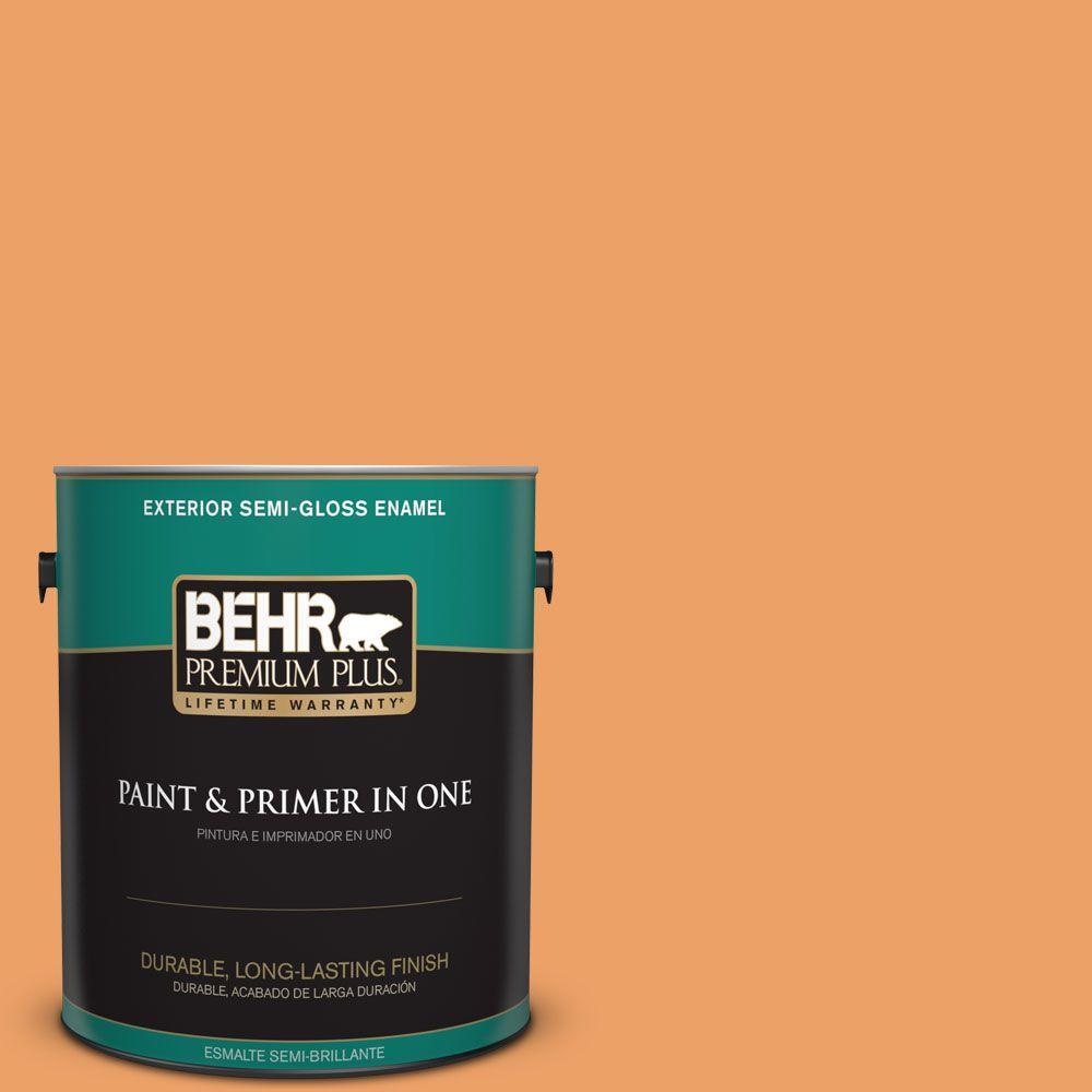 BEHR Premium Plus 1-gal. #270D-5 Adventure Orange Semi-Gloss Enamel Exterior Paint