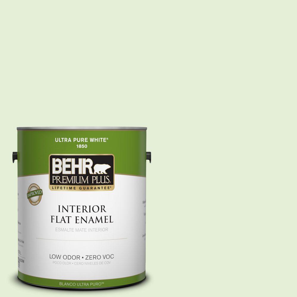 BEHR Premium Plus 1-gal. #430C-2 Spring Morn Zero VOC Flat Enamel Interior Paint-DISCONTINUED