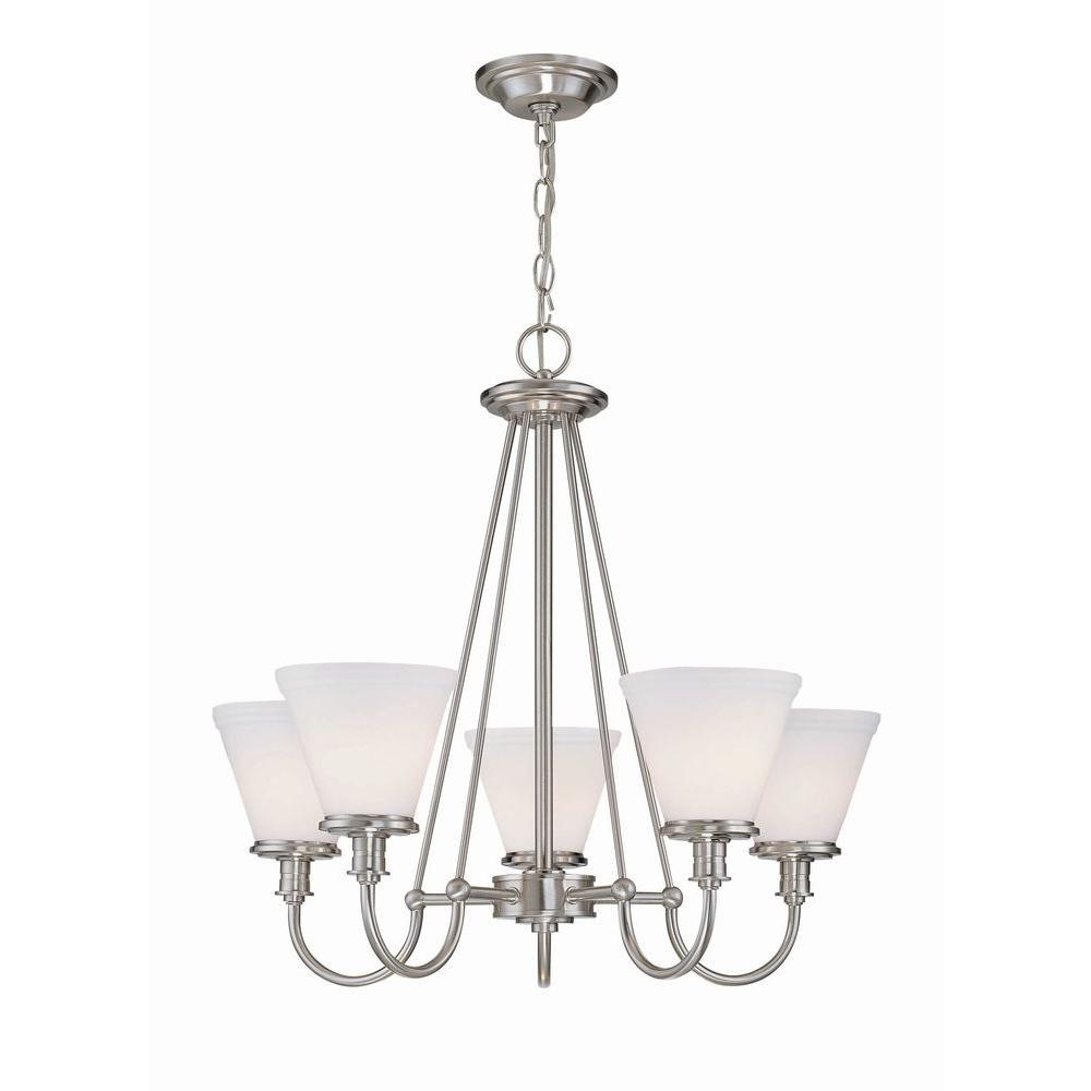 Illumine 5-Light Steel Chandelier with Frost Glass