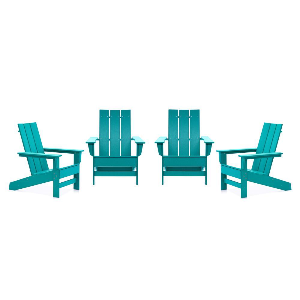 Aria Aruba Recycled Plastic Modern Adirondack Chair (4-Pack)