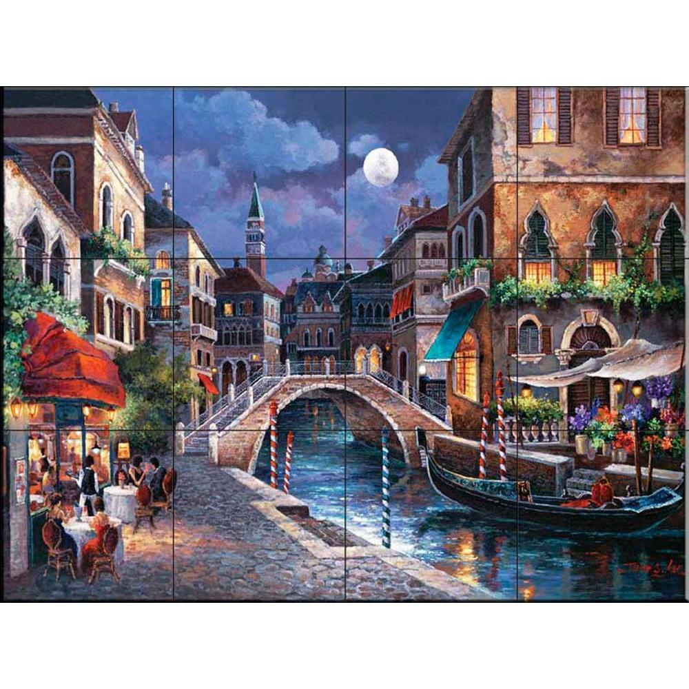 Streets of Venice II 24 in. x 18 in. Ceramic Mural