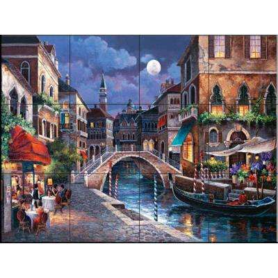 Streets of Venice II 24 in. x 18 in. Ceramic Mural Wall Tile