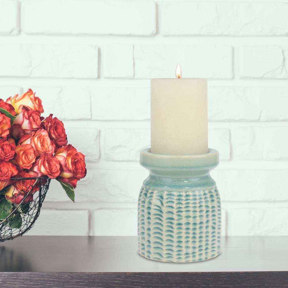 5.5 in. Pale Ocean Ceramic Pillar Candle Holder