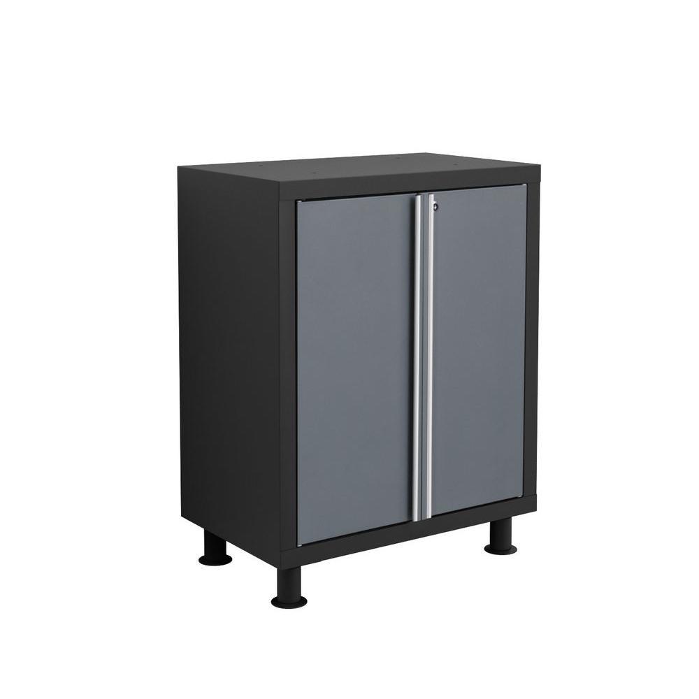 Bold Series 37 in. H x 26 in. W x 16 in. D 2-Door 24-Guage Welded Steel Garage Base Cabinet in Gray/Black