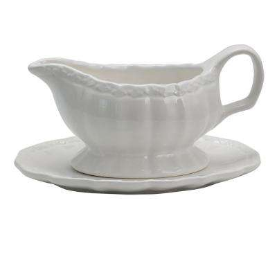Caf Posh 15 oz.White Color Gravy Boat with Saucer