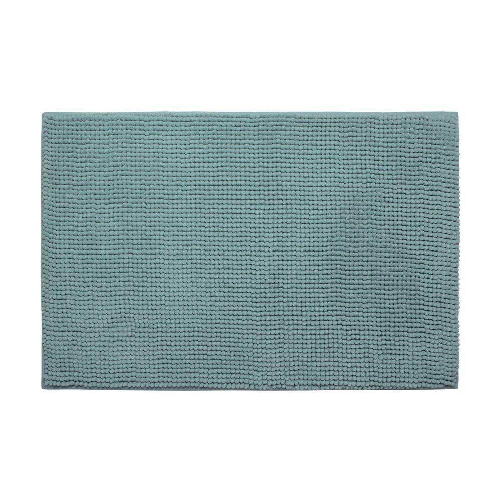 Plush Chenille Marine Blue 20 in. x 30 in. Memory Foam Bath Mat