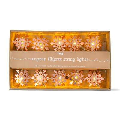 Filigree Snowflake 6 ft. 10-Light LED String Lights