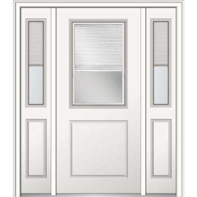 64 in. x 80 in. Internal Blinds Right-Hand 1/2-Lite Clear Primed Fiberglass Smooth Prehung Front Door with Sidelites