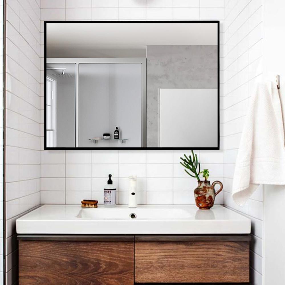 Medium Rectangle Black Hooks Modern Mirror (31.5 in. H x 24 in. W)
