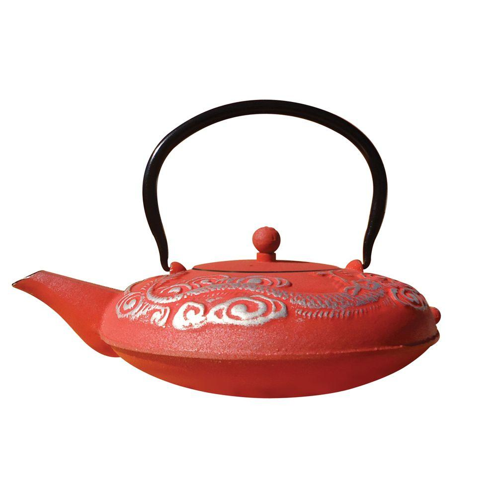 Old Dutch 40 oz. Red And Silver Cast Iron Nara Teapot