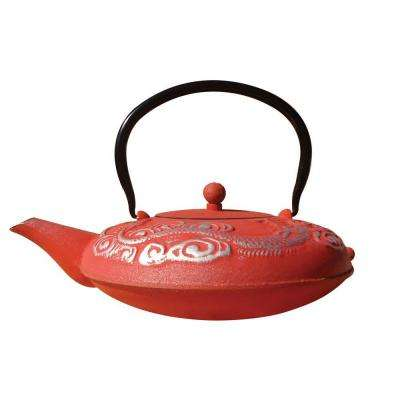 40 oz. Red And Silver Cast Iron Nara Teapot