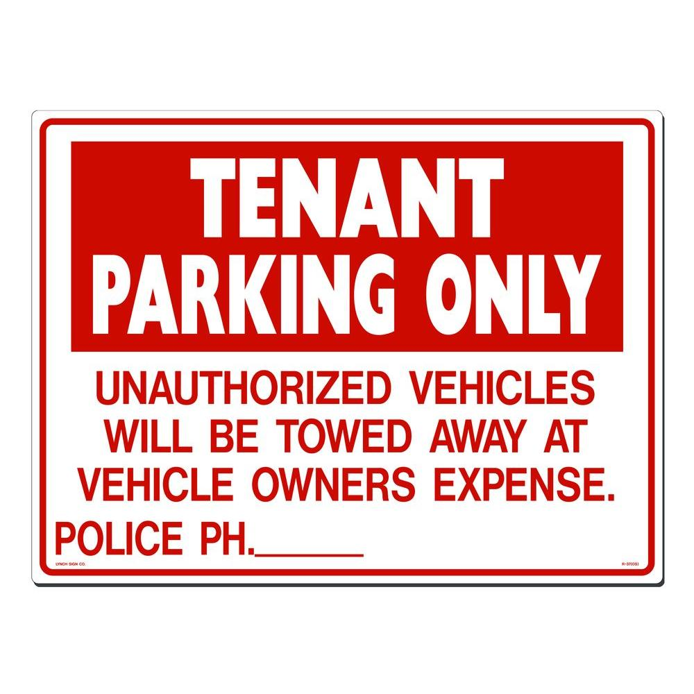 Lynch Sign 24 in. x 18 in. Tenant Parking Sign Printed on More Durable, Thicker, Longer Lasting Styrene Plastic