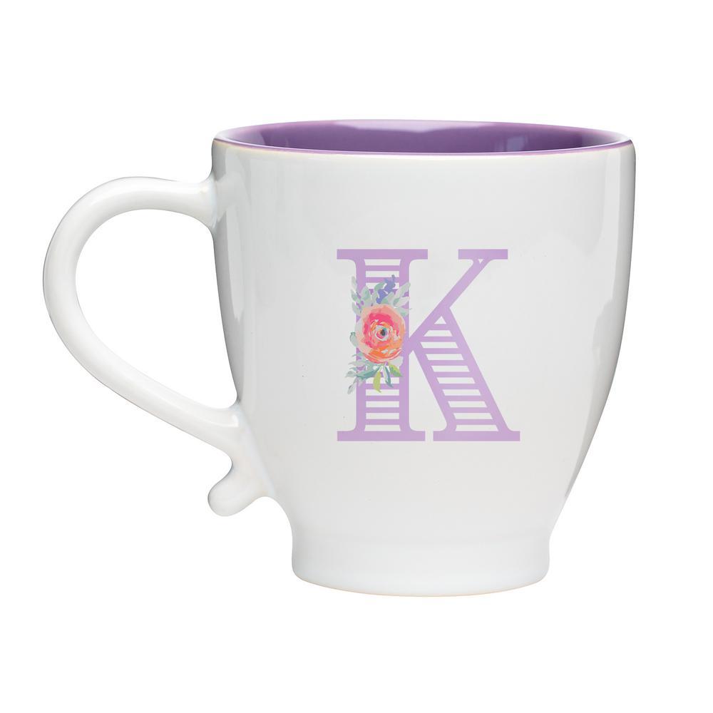 Monogram K 20 oz. White-Purple Ceramic Coffee Mug