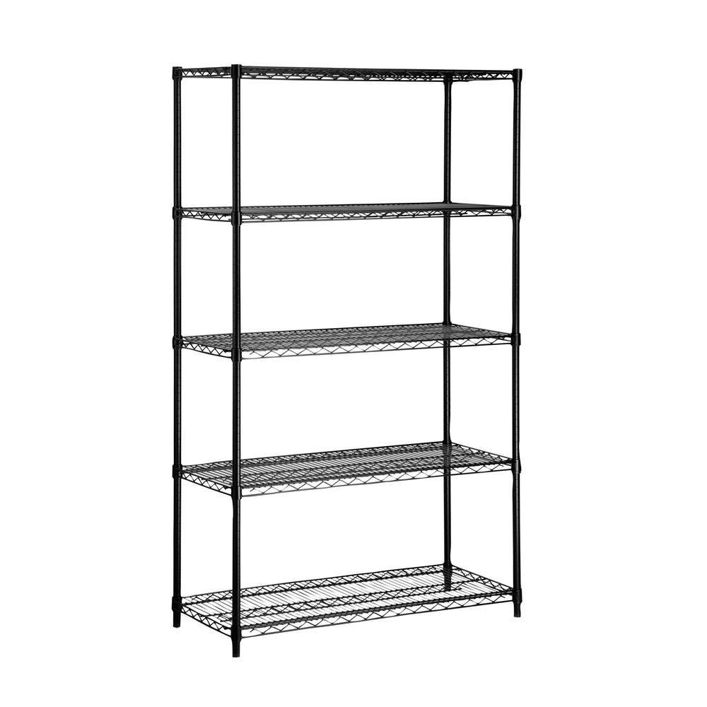 5-Shelf 72 in. H x 42 in. W x 18 in. D Steel Shelving Unit in Black