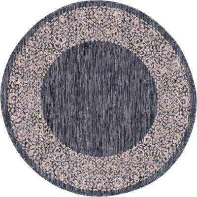 Outdoor Floral Border Charcoal Gray 4 ft. Round Area Rug