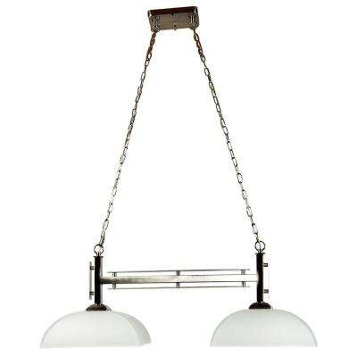 Half Dome 2-Light Satin Nickel Island Light with White Frosted Glass Shade