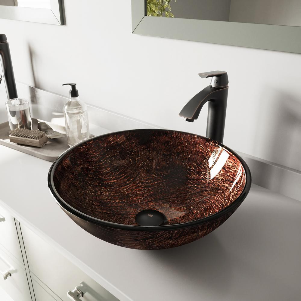 VIGO Glass Vessel Sink in Kenyan Twilight and Linus Faucet Set in Antique Rubbed Bronze