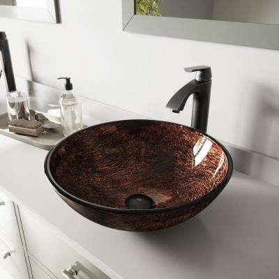Glass Vessel Bathroom Sink in Brown Kenyan Twilight and Linus Faucet Set in Antique Rubbed Bronze