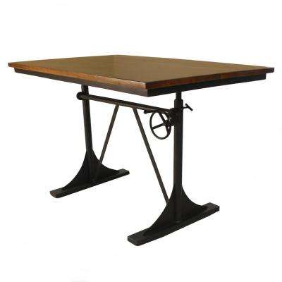 Riley Elm and Black Adjustable Dining Table
