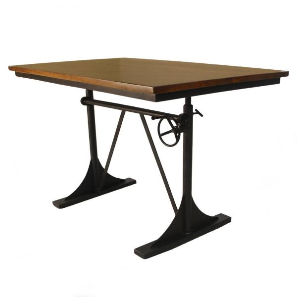 Carolina Forge Riley Elm and Black Adjustable Dining Table TSD3048ELMBLK