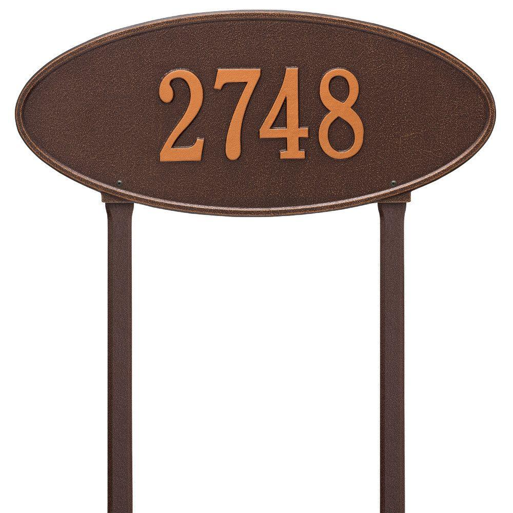Madison Estate Oval Antique Copper Wall 2-Line Address Plaque