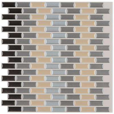 12 in. x 12 in. Peel and Stick Mosaic Decorative Wall Tile in Earth Tones (6-Pack)