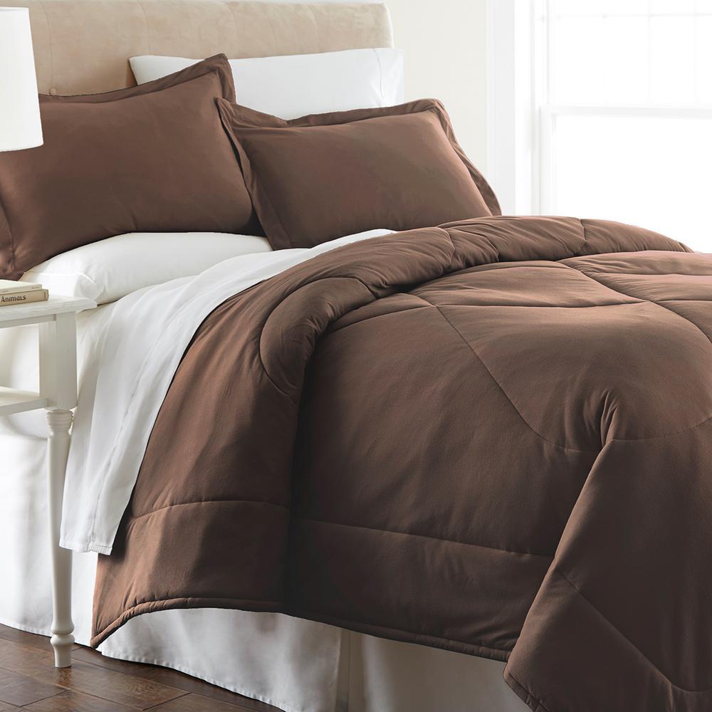 3-Piece Chocolate Full/Queen Comforter Set
