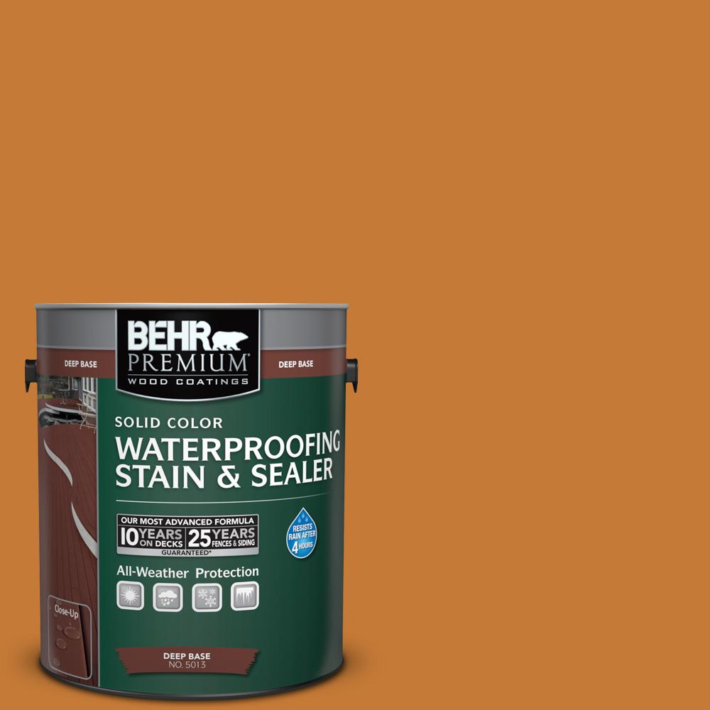 BEHR Premium 1 gal. #SC-140 Bright Tamra Solid Color Waterproofing Stain and Sealer