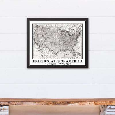 16 in. x 20 in. ''United States of America'' Printed Framed Canvas Wall Art