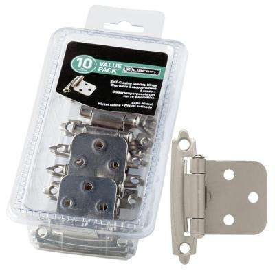 Satin Nickel Self-Closing Overlay Hinge (10-Pack)