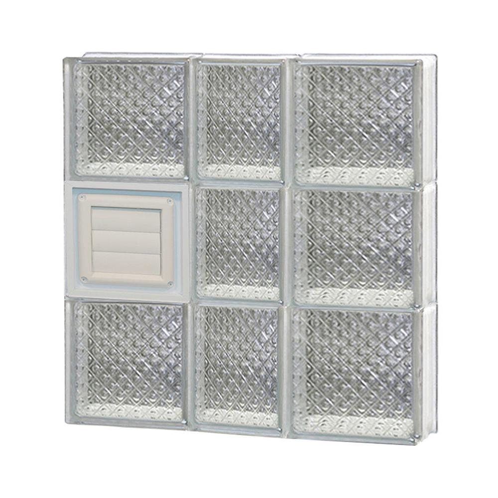 Clearly Secure 21.25 in. x 23.25 in. x 3.125 in. Frameless Diamond Pattern Glass Block Window with Dryer Vent