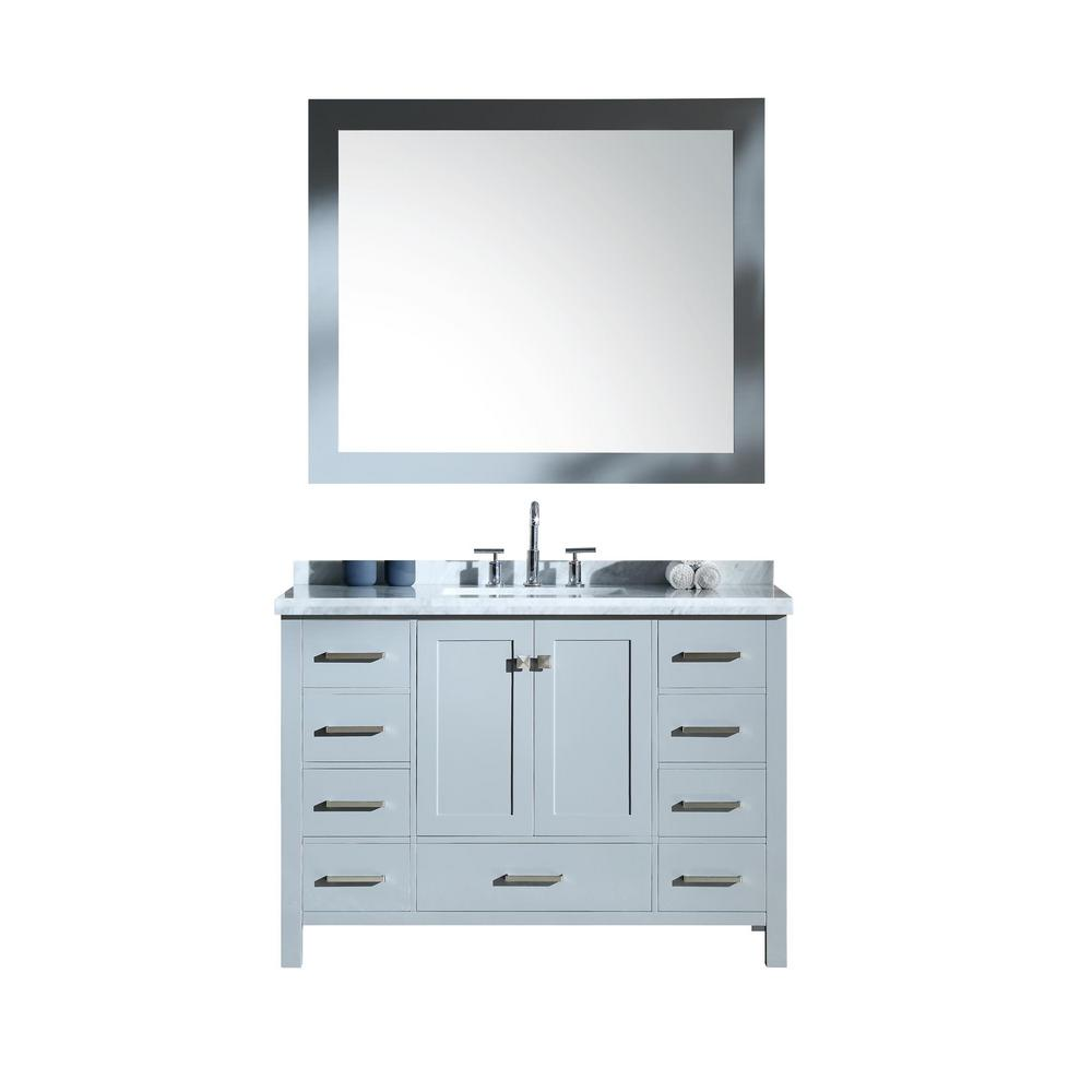 Ariel Cambridge 49 in. Bath Vanity in Grey with Marble Vanity Top in Carrara White with White Basins and Mirror