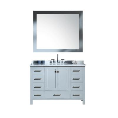 Cambridge 49 in. Bath Vanity in Grey with Marble Vanity Top in Carrara White with White Basins and Mirror
